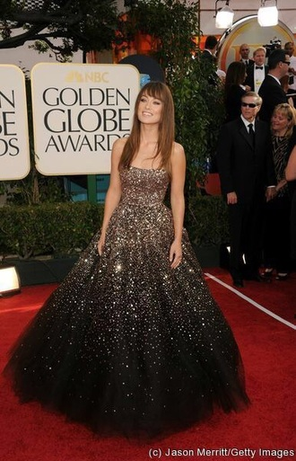 dress olivia wilde black dress golden globes 2015