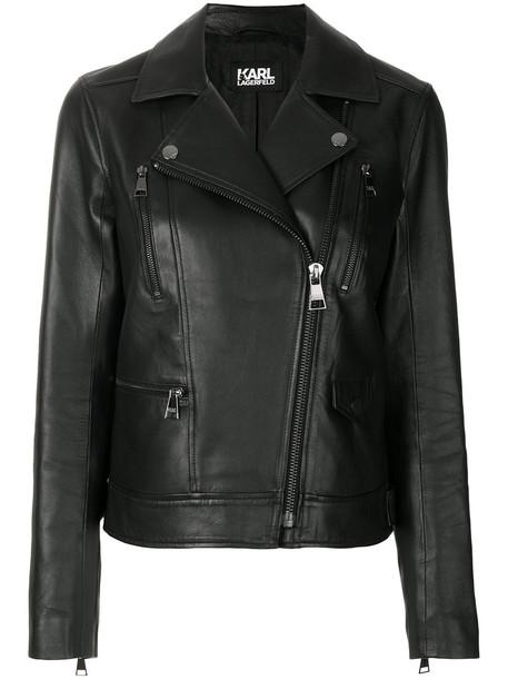 karl lagerfeld jacket biker jacket women black