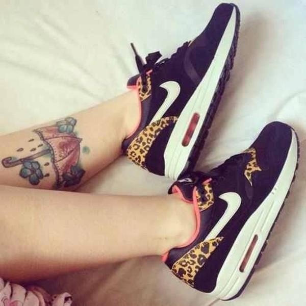 shoes leopard print nike pink black