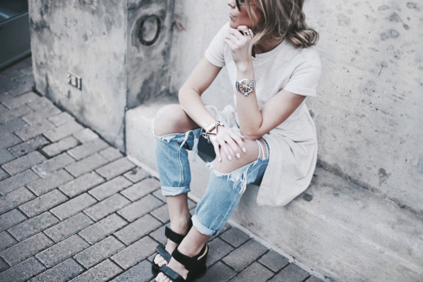 happily grey blogger dress black sandals ripped jeans bracelets jeans
