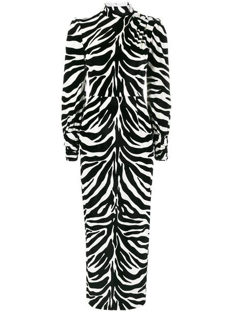 Alessandra Rich dress print dress zebra high women high neck spandex print black silk velvet zebra print