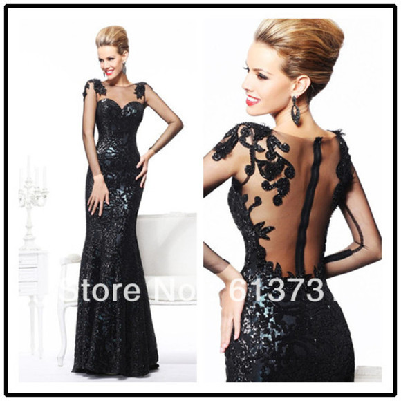 evening dress embroidered mermaid prom dresses black dresses sequins black sequins open back prom dress