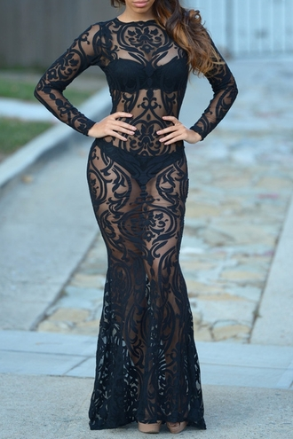dress black sexy mesh see through hot see-through long sleeve maxi dress stylish trendy long sleeves zaful