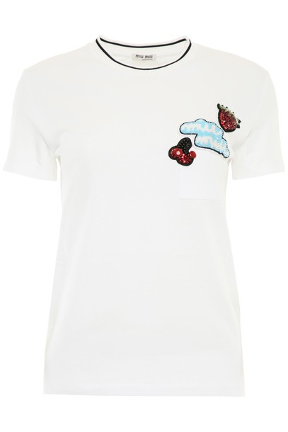 Miu Miu t-shirt shirt t-shirt embroidered top