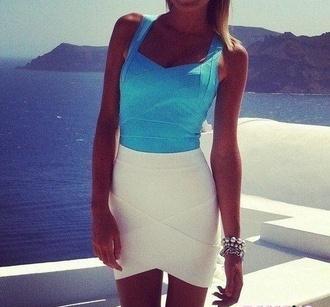bandage dress skirt bandage skirt white blue summer outfits