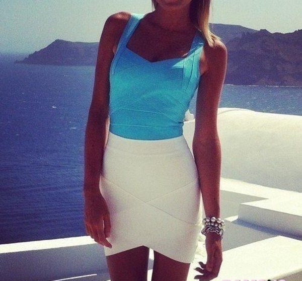 bandage skirt bandage skirt white blue summer outfits shirt