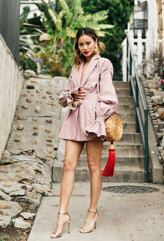 dress stripes striped dress jamie chung blogger spring dress spring outfits sandals purse blazer dress bag