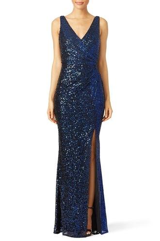 dress gown blue sparkle badgley mischka formal formal dress