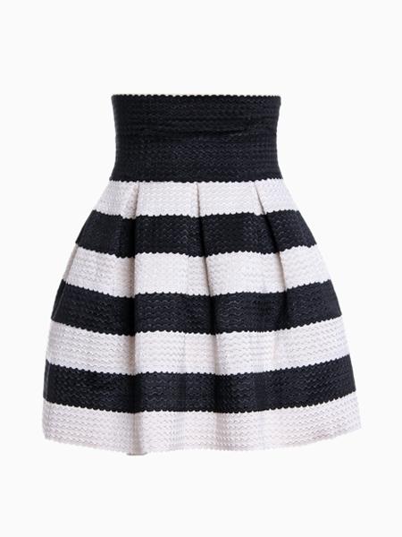 Black Striped Skater Skirt | Choies