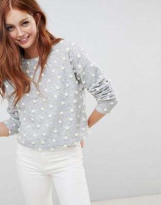 New Look brushed jumper with polka dot pom poms in grey at asos.com