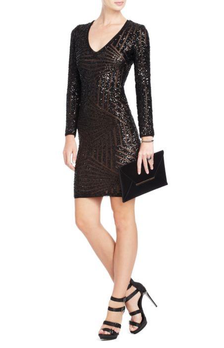 Herve Leger BCBG Black Sequin V Neck Bandage Dress [Sequin V Neck Bandage Dress] - $166.00 : cheap herve leger, 2013 bandage dress