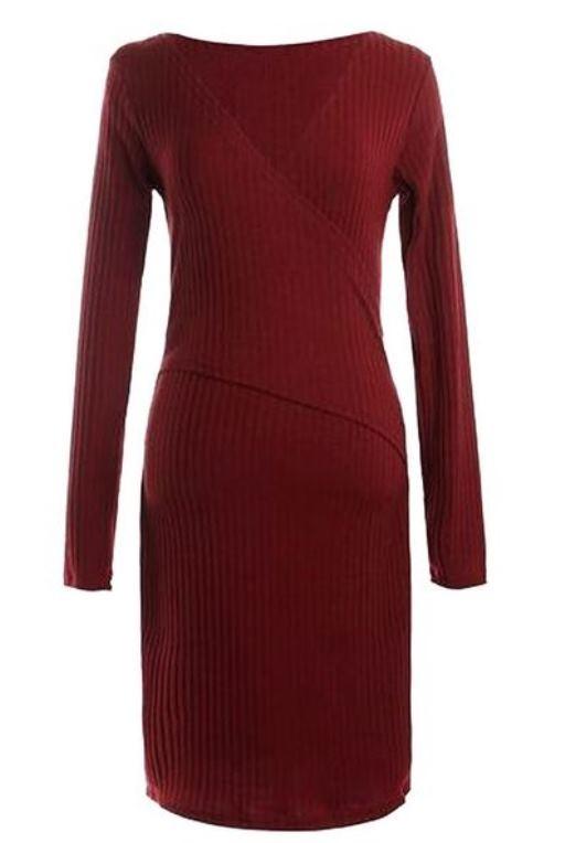 Burgundy Wine Wrap Knit Bodycon Dress