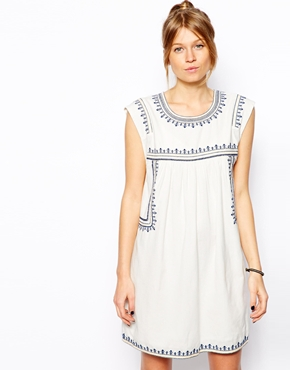 Mango | Mango Embroidered Smock Dress at ASOS
