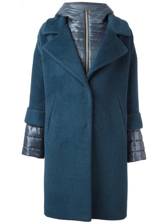 coat women layered blue silk wool