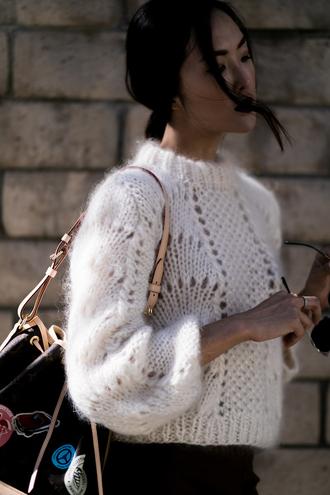 sweater tumblr cozy sweater eyelet detail cropped sweater white sweater bag