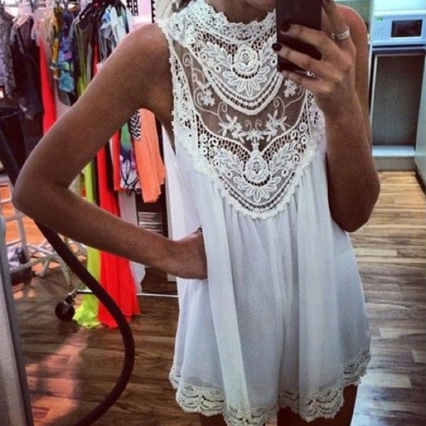 dress lace mini dress crochet lace dress tank top