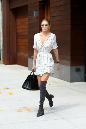 dress tumblr white dress mini dress wrap dress short sleeve dress over the knee boots over the knee grey boots boots bag black bag sunglasses mirrored sunglasses gigi hadid celebrity style celebrity model model off-duty