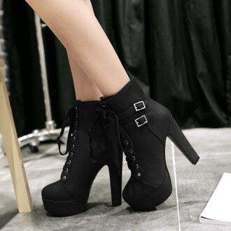 shoes boots black fashion fall outfits winter outfits buckle boots high heels heels platform shoes fsjshoes