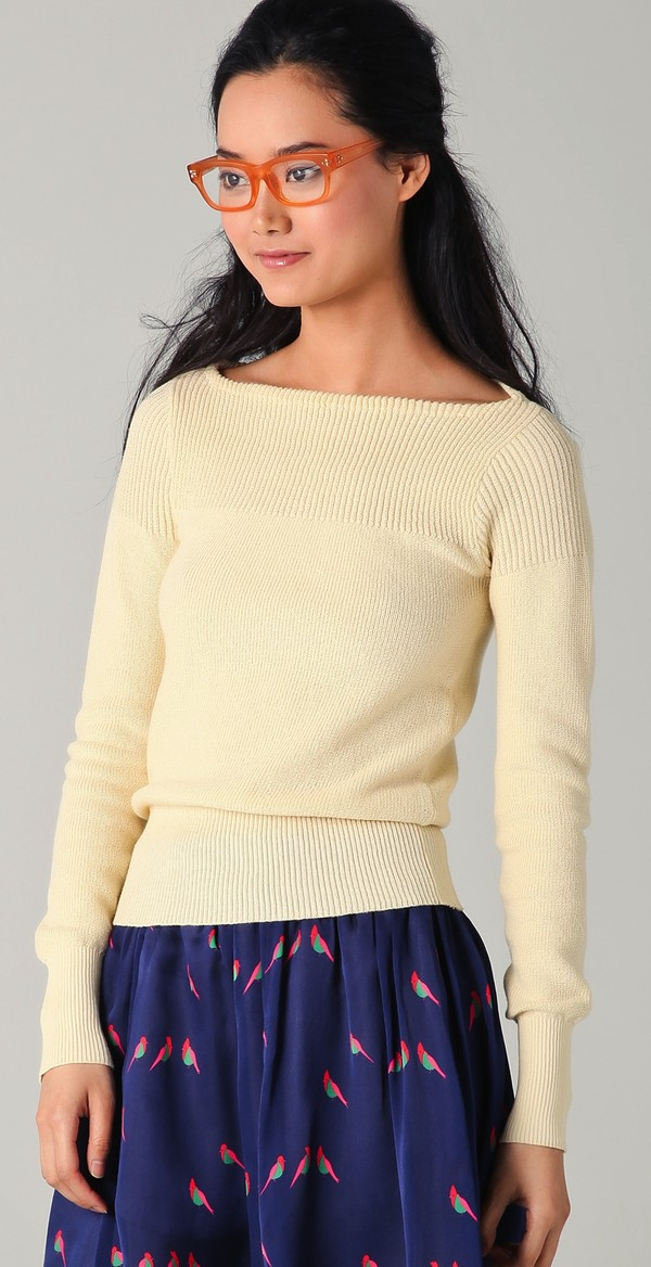 sweater knit knitted sweater trendy preppy designer fashion fashionista fab celebrity style steal skirt