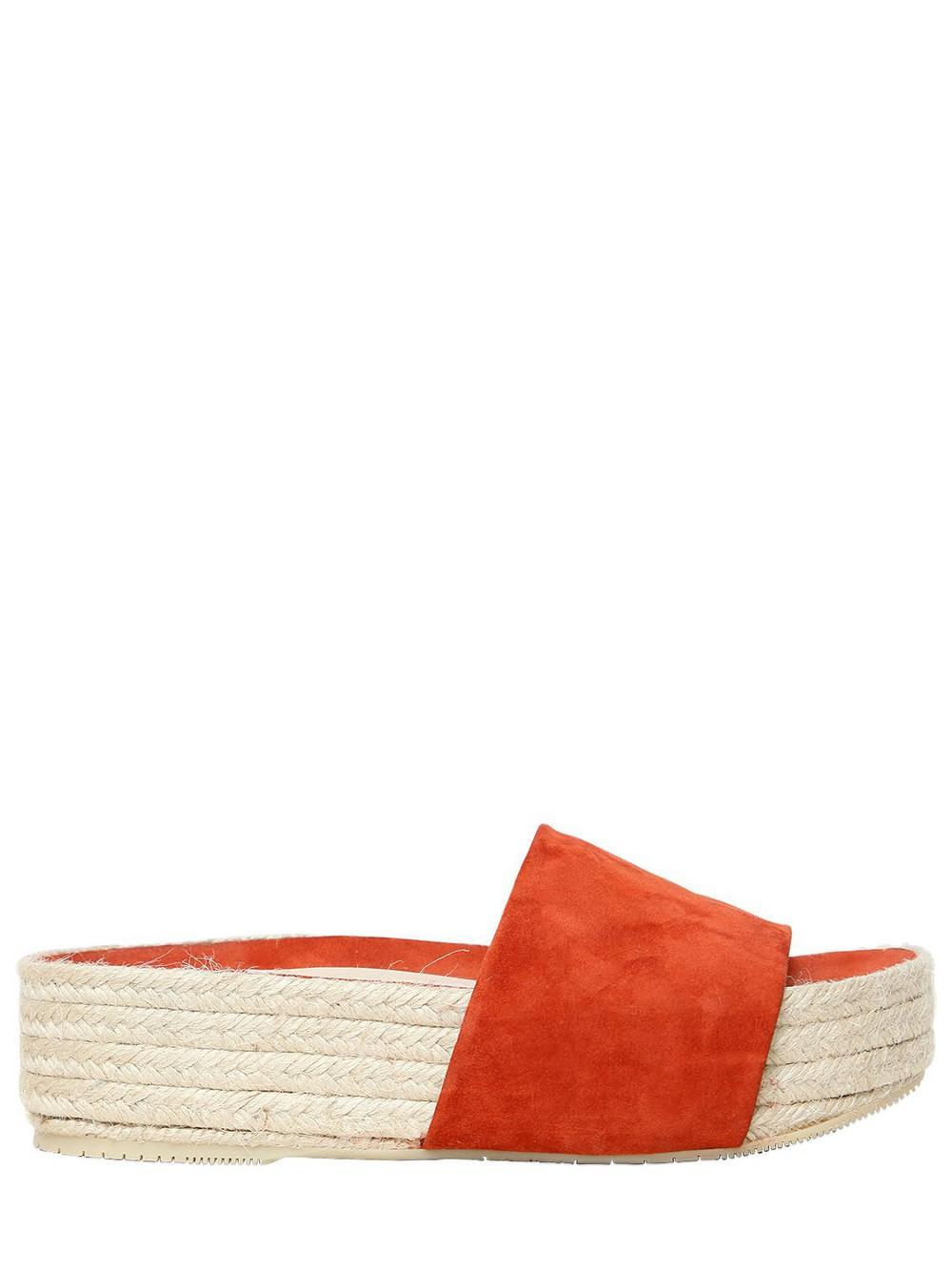 PALOMA BARCELÒ 40mm Platform Suede Sandals in tan
