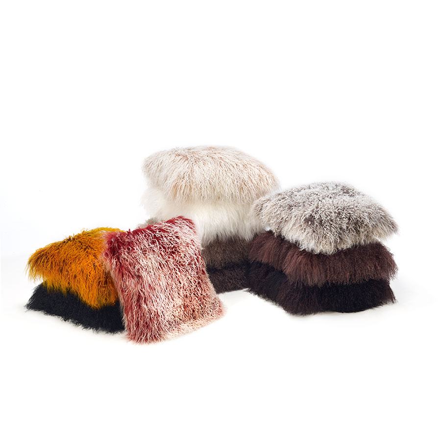 Tibetan Lambskin Throw Pillows Curly Fur Cushions 20″ Square Ivory   Ultimate Sheepskin
