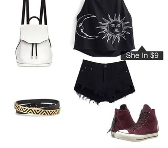 top black white moon sun moon and sun bag backpack converse trainers shorts shoes shirt tumblr tumblr outfit bracelets accessories burgundy