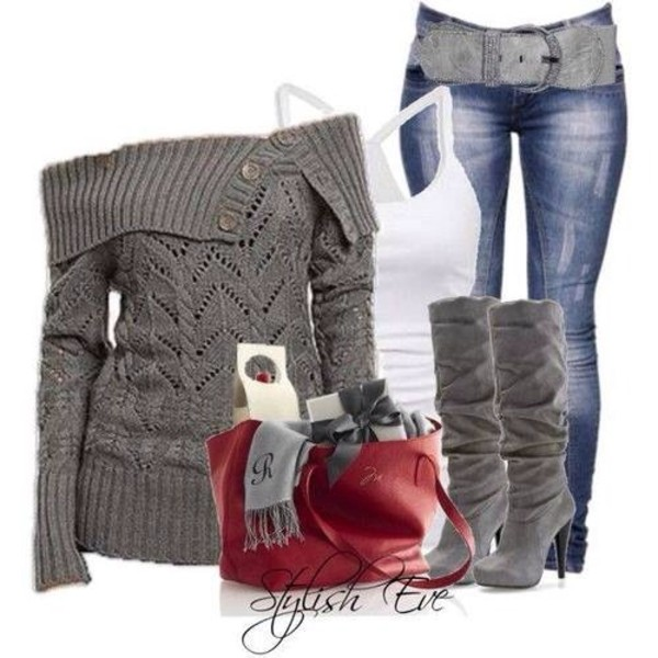 blouse shoes jeans sweater belt bag shirt