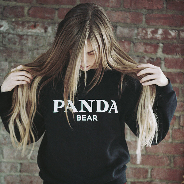 sweater alex and chloe alex & chloe panda panda bear panda suit giant panda prada miu miu gucci louis vuitton chanel givenchy balmain ballin ballin paris sad panda black sweatshirt sweater jumper kung fu panda bear look a like long hair oversized sweater cara delevingne black and whites