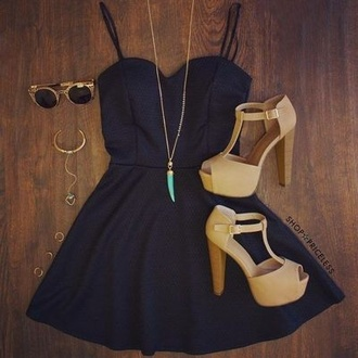 dress prom dress black prom dress black black dress mini dress necklace shoes high heels gold jewelry little black dress black mini dress sunglasses earrings luxury jewels