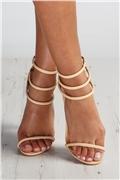Chrissie Nude Three Strap Heels at misspap.co.uk