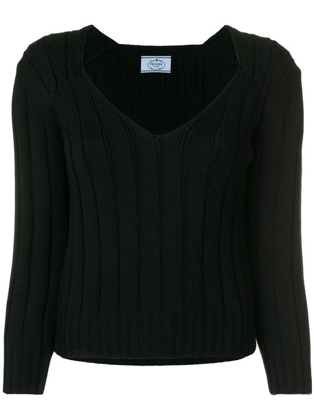 Prada sweater women black wool knit