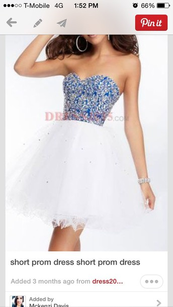 dress blue white short prom dress