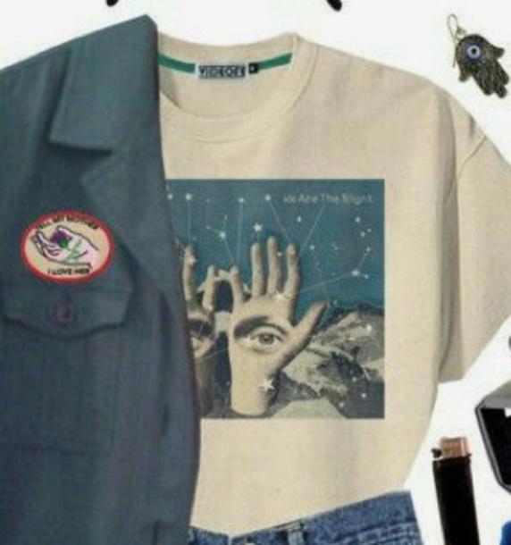 shirt white eye hands space desert aesthetic grunge