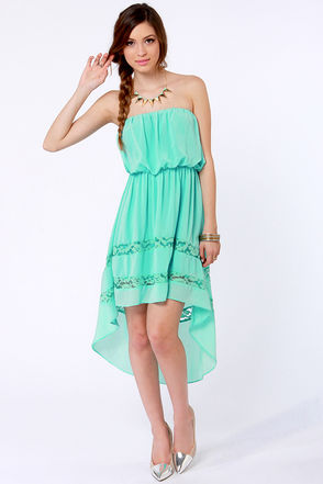 Strapless Dress - Mint Dress - High-Low Dress - $35.00