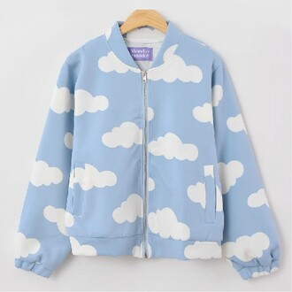 jacket fashion kawaii cute trendy light blue clouds bomber jacket boogzel