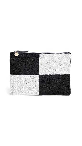 clutch white black bag