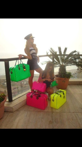 bag bright pink green yellow holdall big overnight neon quilted