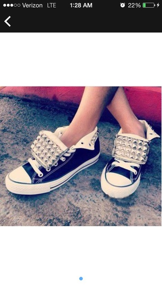 shoes studded shoes converse shoes