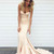Light champagne satin mermaid long prom dress, evening dress - 24prom