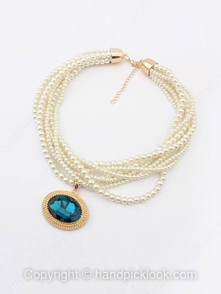 Blue Gemstone White Pearl Multilayers Necklace - HandpickLook.com