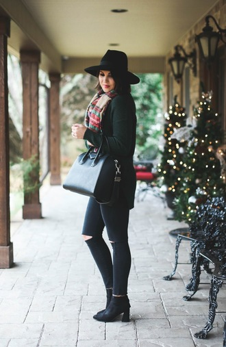 life & messy hair blogger shoes jeans sweater hat bag scarf winter outfits handbag givenchy bag ankle boots black jeans