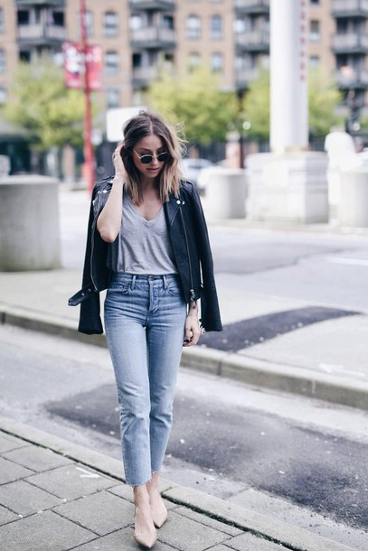 435b5bca7ac4 jacket tumblr black jacket black leather jacket leather jacket denim jeans  light blue jeans cropped jeans