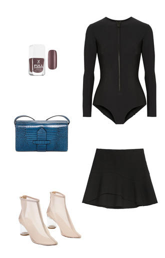 swimwear wetsuit black swimwear blue bag shoulder bag nude shoes ankle boots nail polish outfit idea neoprene one piece swimsuit cute outfits skirt shoes bag