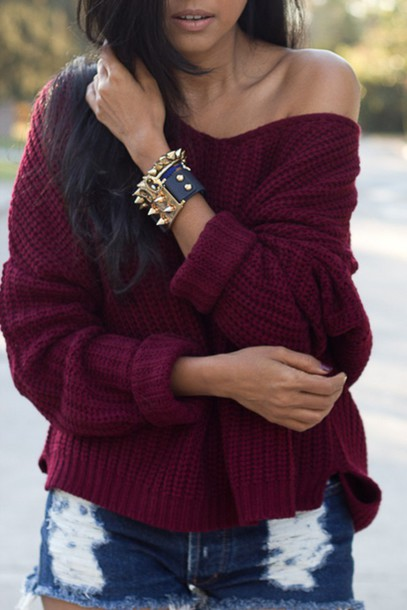 Sweater: burgundy, burgundy sweater, off the shoulder sweater, off ...