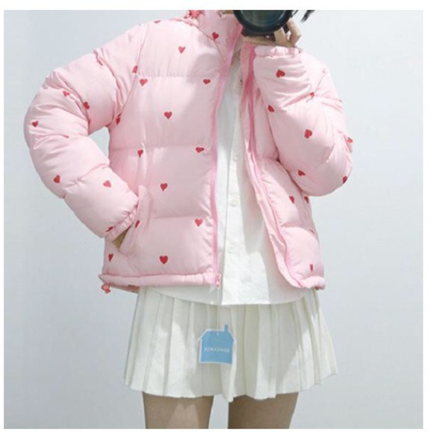 coat girly pink puffer jacket tumblr heart