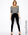 ASOS PETITE Ridley High Waist Ultra Skinny Jeans in Clean Black with Ripped Knees at asos.com
