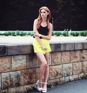 skirt,swag,streetstyle,stylemoi,yellow skort,skorts,summer outfits