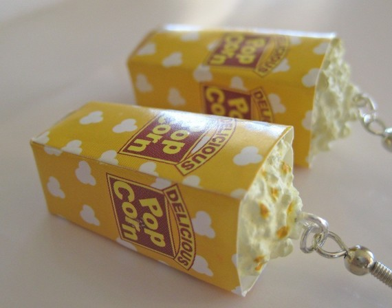 Miniature Food Jewelry  Buttered Popcorn Earrings by Artwonders