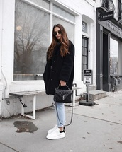 shoes,coat,oversized coat,oversized,sunglasses,bag,white sneakers,low top sneakers,sneakers,jeans,denim,blue jeans,yves saint laurent