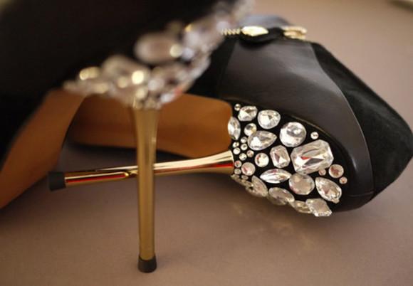 gold diamonds heels